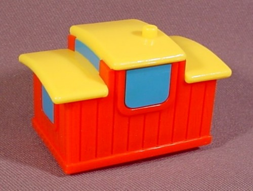 Fisher Price Flip Track Red Train Caboose With Yellow Roof