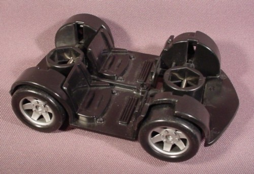 """Fisher Price Imaginext Black Car Chassis, 5"""" Long, Black Wheels With Silver Hubs"""