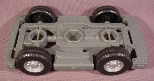 """Fisher Price Imaginext Silver Gray Car Chassis, 6 1/2"""" Long, Black Wheels"""