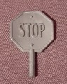 Fisher Price Imaginext Silver Gray Hand Held Stop Yield Sign, Figure Accessory, 78328