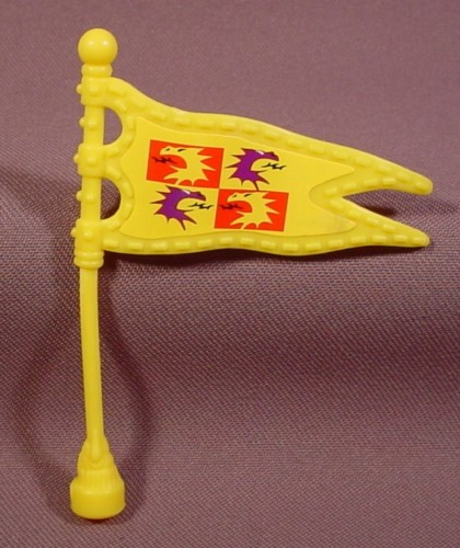 Fisher Price Imaginext Yellow Pennant Flag On Pole With Dragon Head Stickers, 78331