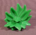 Fisher Price Imaginext Green Bushy Plant, Pointy Leaves, Clips Into Holes In Walls