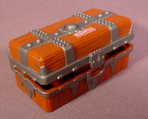 """Fisher Price Imaginext Brown Treasure Chest With Silver Hardware, 2 5/8"""" Wide"""