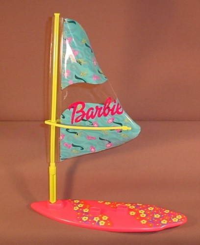 """Barbie Sail Board With Removable Plastic Sail, 1991 Mattel, Sailboard Is 10 1/4"""" Long"""