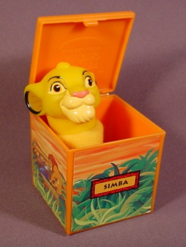 "Burger King 1995 Lion King Simba Figure Puppet Inside Block Toy, Block Is 2"" Square"