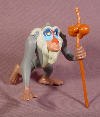 """Disney 1994 Lion King Rafiki Figure Toy With Staff, 3 1/4"""" Tall, Arms Are Jointed"""