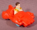 "Flintstones Fred In Red Car Toy, 2 1/4"" Long, Hanna-Barbera"