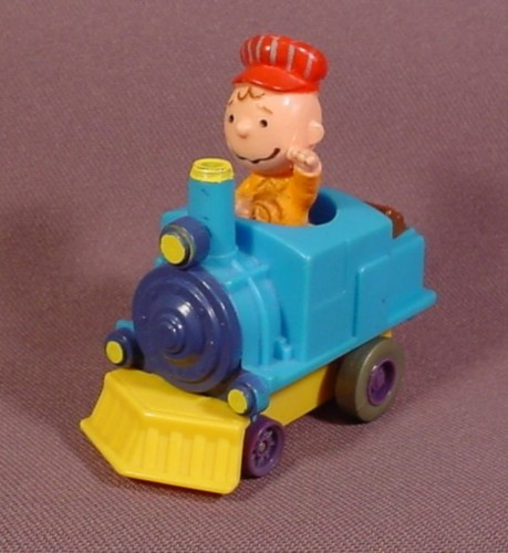 Peanuts Friction Racers Charlie Brown In A Steam Train Engine, 2 1/2 Inches Long, 1989 McDonalds