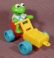 Mcdonalds 1990 Muppet Babies Kermit PVC Figure With His Soap Box Racer