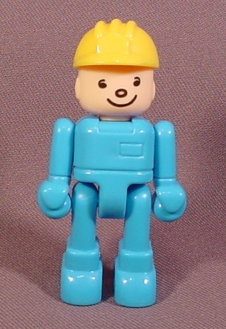 """Little People Person With Blue Clothes & Yellow Hard Hat, 2 5/8"""" Tall, Playset Figure"""