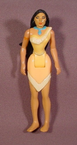 Disney Pocahontas Doll Figure, 4 Inches Tall, Burger King, Arms & Waist Are Jointed