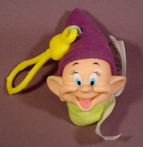 "Mcdonalds 2001 Snow White Dopey Plush With Clip, 3 3/4"" Tall"