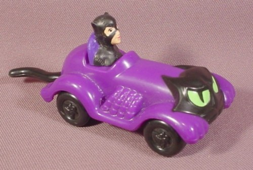 Batman Catwoman Cat Coupe Car, 4 3/8 Inches Long, The Tail Wags As It Rolls, 1993 McDonalds