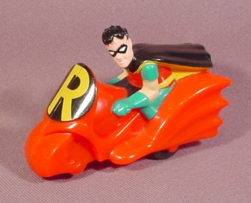 Batman Robin On Motorcycle, 2 7/8 Inches Long, Pull Back, 1993 McDonalds