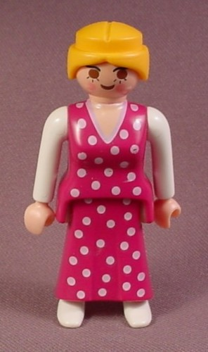 Playmobil Adult Female Victorian Mother Figure In A Dark Pink Polka Dot Dress, Blond Hair