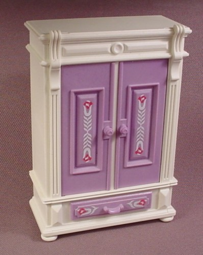 Playmobil White Victorian Style Wardrobe With Purple Doors & Drawer, 5312 5325, 4 Inches Tall