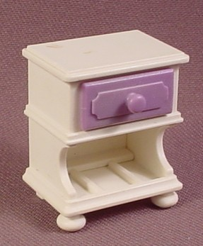 "Playmobil Victorian White Nightstand Table Purple Drawer, 5325, 1 3/8"" Tall, Bedroom"