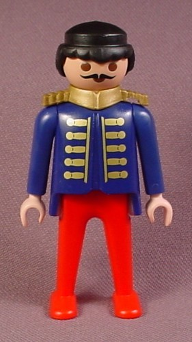 Playmobil Adult Male Circus Worker Figure In A Blue Shirt With Gold Trim & Gold Tied Buttons