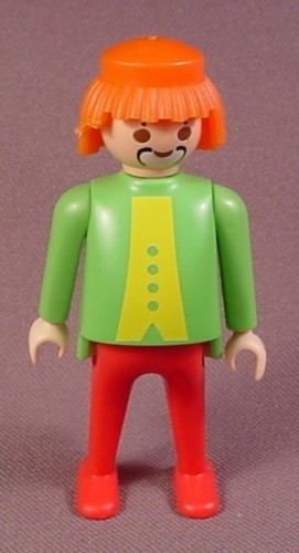 Playmobil Adult Male Clown Figure With Shaggy Orange Hair And A Green Top With Red Legs, Fat Body