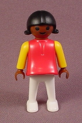 Playmobil Female Girl Child African American Figure, 3778 3797, Circus, City Life, Dark Pink Top