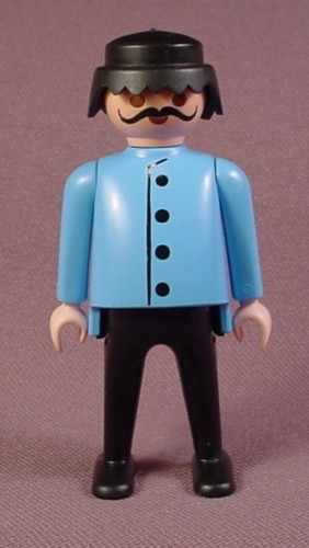 Playmobil Adult Male Figure In A Light Blue Coat With Black Buttons, Black Hair And Moustache