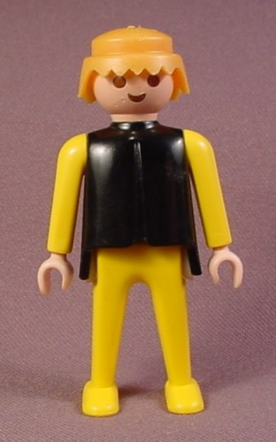 Playmobil Adult Male Classic Style Figure With A Black Top And Yellow Arms & Legs, Blond Hair