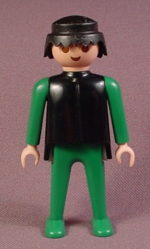 Playmobil Adult Male Classic Style Figure With A Black Top And Green Arms & Legs, Black Hair