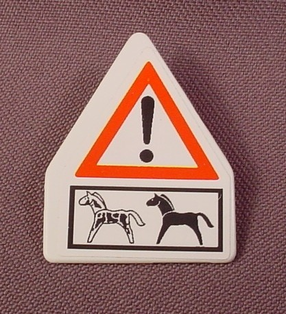 Playmobil White Sign With A Clip On The Back And Horses & Exclamation Mark Sticker, 3775, Pony Ranch