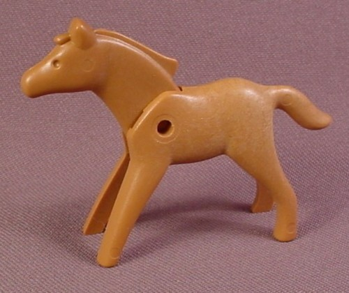 Playmobil Light Brown Baby Horse Foal Or Pony With A Head That Moves, 3047 3299 3804 3856, Farm
