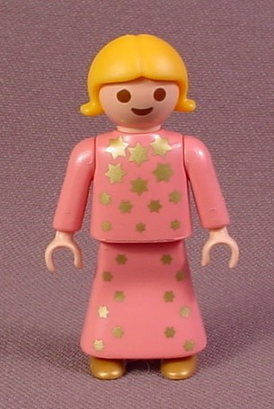 Playmobil Female Girl Child Angel Figure In A Pink Dress With Gold Stars, 3943 4152 4166, Christmas