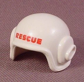 Playmobil White Rescue Helmet With A Slot For A Microphone And RESCUE Printed On The Front