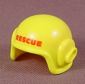 Playmobil Yellow Modern Pilot's Helmet With A Slot For A Microphone & RESCUE Printed In Red