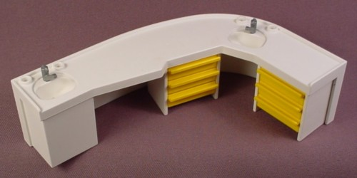 Playmobil White Curved Counter, 2 Sinks, Yellow Drawers, 3762, Dentist's Office