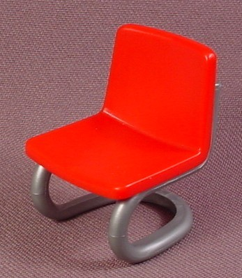 Playmobil Silver Gray Tubular Chair Frame With A Red Seat, 3240 3623 3762 4374 4875 5013 5167 5299
