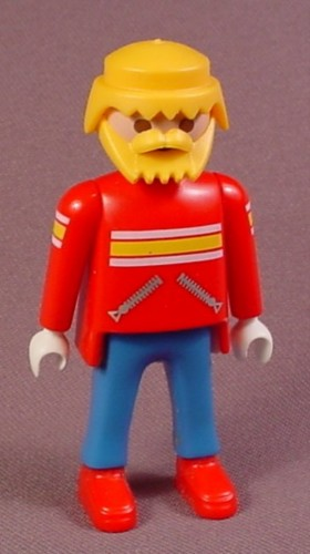 Playmobil Adult Male Ski Patrol Figure, Blond Hair And Beard, Red Shirt & Boots, 3843