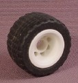 Playmobil Black Rubber Tire With Treads, White Rim, 3754 7617, 1 1/4