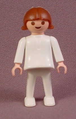 Playmobil Female Girl Child Figure With All White Outfit, 3211 3223 3416, City Life, Classic Style