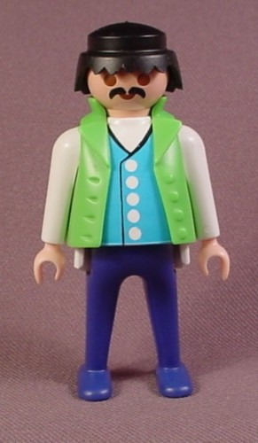 Playmobil Adult Male Figure With Green Vest & Blue Shirt With White Buttons & Sleeves, Purple Pants