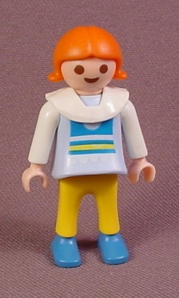 Playmobil Female Girl Child Figure With Yellow Pants & A Frilly White Collar, Red Hair, 3008
