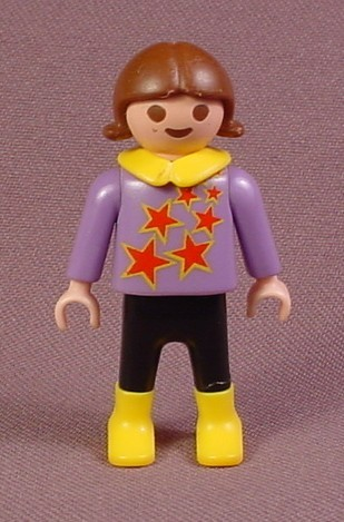 Playmobil Female Girl Child Figure In A Purple Shirt With Red Stars, Black Pants, Yellow Boots