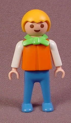 Playmobil Male Boy Child Figure In An Orange Shirt & Blue Pants, Green Collar With A Bow Tie, 5322