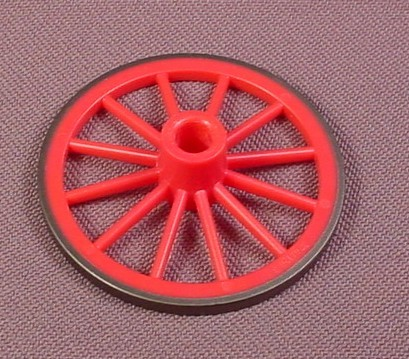 Playmobil Dark Pink Front Wagon Wheel With Black Tire, 45Mm, 5601 7261, Victorian