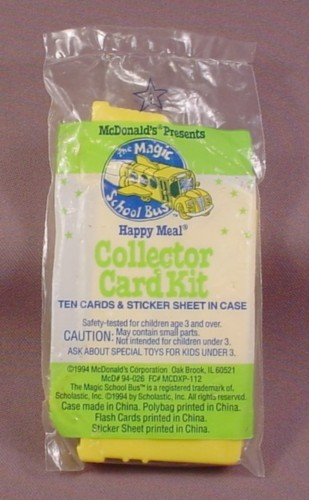 Mcdonalds 1994 The Magic School Bus Collector Card Kit Toy Sealed In Original Bag