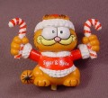 Garfield The Cat With Christmas Candy Canes PVC Figure, 2 1/4