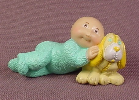 Cabbage Patch Kids Baby In A Teal Sleeper With A Yellow Puppy Dog Mini PVC Figure, 2 3/8 Inches Long