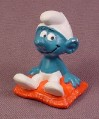 Smurf Sitting On A Red Pillow, Peyo Bully, West Germany, Smurfs