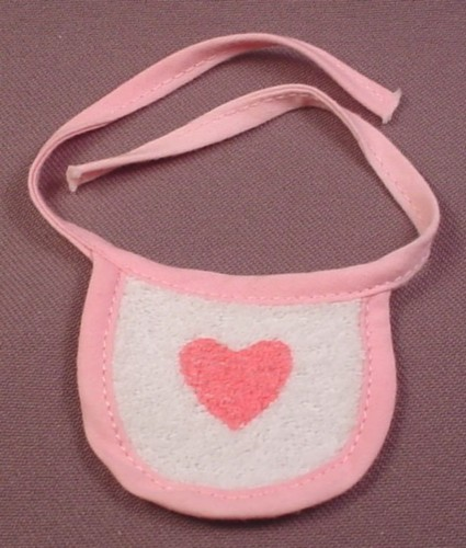 My Little Pony G1 Baby Wear Pink & White Bib With Pink Heart, Surprise, 1984 Hasbro