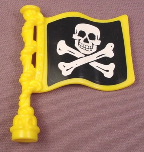 Fisher Price Imaginext Yellow Wavy Flag With Skull & Crossbones Stickers, L1284 Pirate Ship