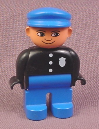 Lego Duplo 4555 Male Articulated Figure, Police Badge, Blue Hat, Black Shirt