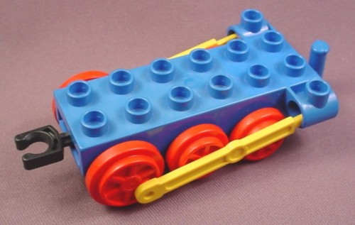 Lego Duplo 4580 Blue Train Base With Red Wheels, Yellow Pistons, Trains, Circus